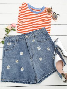 Ripped Daisy Embroidered Denim Shorts - Denim Blue L