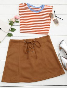Lace Up Faux Suede Mini Skirt - Coffee S