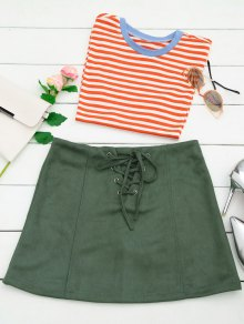 Lace Up Faux Suede Mini Skirt - Army Green L