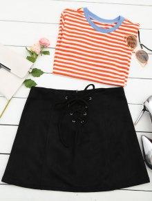 Lace Up Faux Suede Mini Skirt - Black L