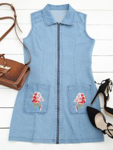 Floral Embroidered Zippered Denim Dress - Ice Blue L