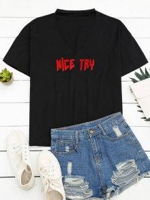 Loose Choker Letter T-Shirt - Black M