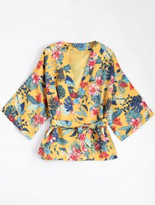 مربوط الأزهار كيمونو بلوزة معطف - الأصفر M