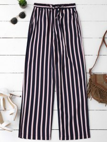 Elastic Waist Striped Wide Leg Pants - Stripe M