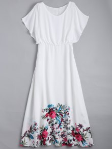 Floral Flonuces Maxi Chiffon Dress - White M