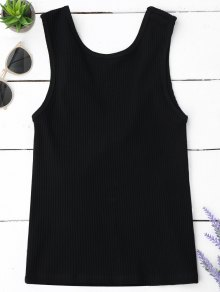 Knitted Ribbed Cut Out Tank Top - Black S