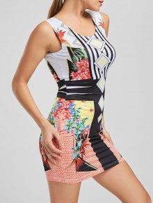 Floral Print Stripes Bodycon Club Dress - Yellow S