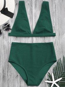Textured Plunge High Waisted Bikini Set - Green M