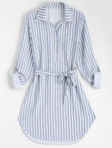 Belted Striped Long Sleeve Dress - Stripe L
