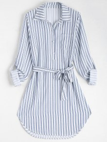 Belted Striped Long Sleeve Dress - Stripe Xl