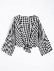 Round Neck Plaid Front Tied Blouse - Checked L