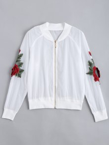 Floral Patched Zip Up Jacket - White S
