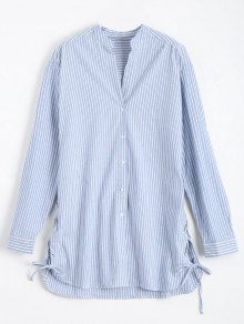 Longline Side Lace Up Striped Boyfriend Shirt - Blue And White S