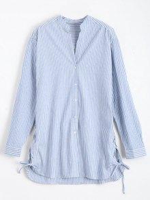 Longline Side Lace Up Striped Boyfriend Shirt - Blue And White L