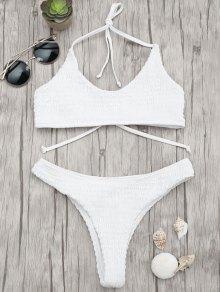 Padded Smocked Bralette Bikini Set - White S