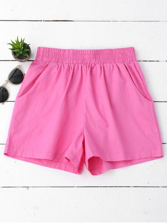 Pantalones cortos ocasionales de alta cintura - púrpura rosácea M