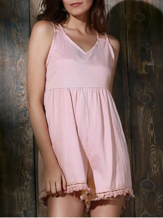 shops Tassels Backless Spaghetti Straps Playsuit - PINK L