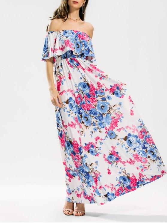 Maxi Vestido con Volantes con Estampado Floral - Floral S