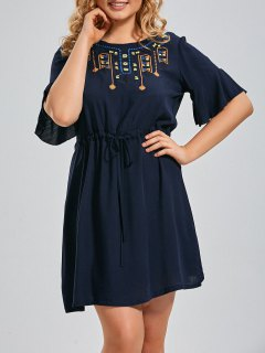 Plus Size Embroidered Belted Ruffles Dress - Deep Blue 2xl