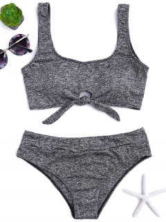 Heathered Front Tied Bikini Set - Gray L