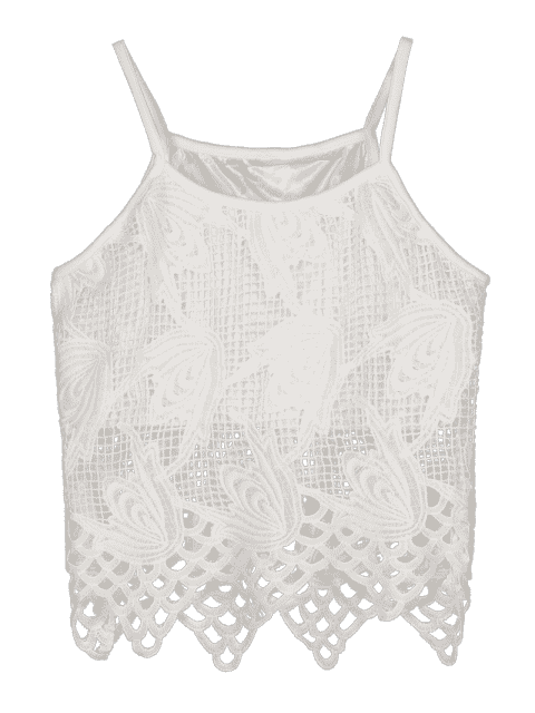 buy Hollow Out Spaghetti Straps Lace Tank Top - WHITE S Mobile