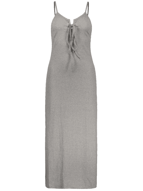 best Lace Up Spaghetti Straps Solid Color Dress - GRAY S Mobile