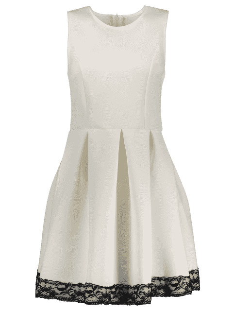 fancy Lace Splice Round Neck Sleeveless Flare Dress - WHITE L Mobile