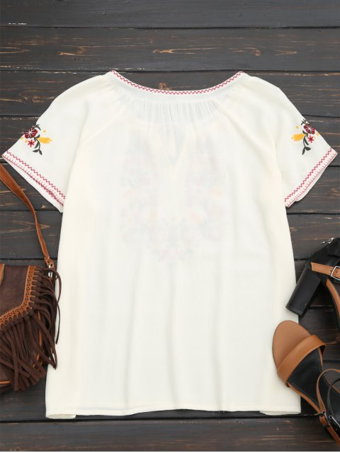 women Tassel Embroidered Tie Neck Tee - WHITE L Mobile
