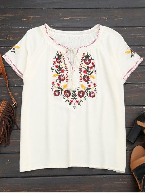 ladies Tassel Embroidered Tie Neck Tee - WHITE S Mobile