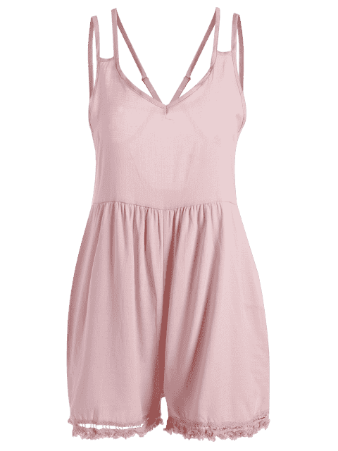 outfits Tassels Backless Spaghetti Straps Playsuit - PINK S Mobile