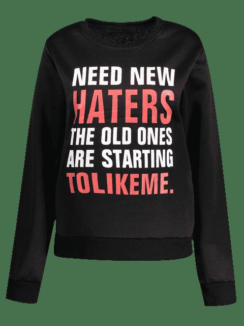hot Letter Funny Sweatshirt - BLACK XL Mobile
