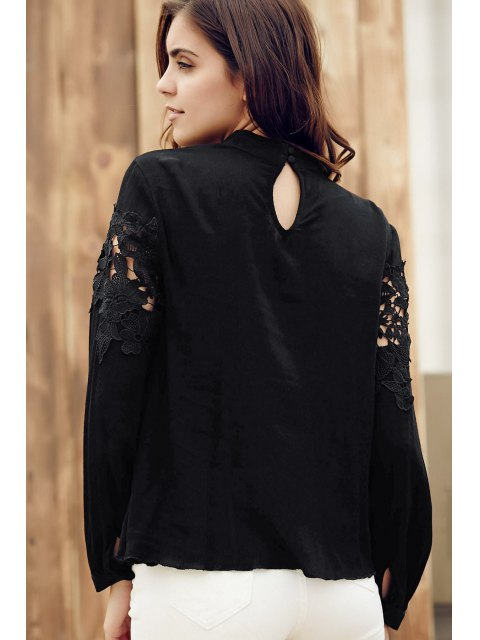best Lace Spliced Stand Collar Long Sleeve Black Blouse - BLACK XL Mobile