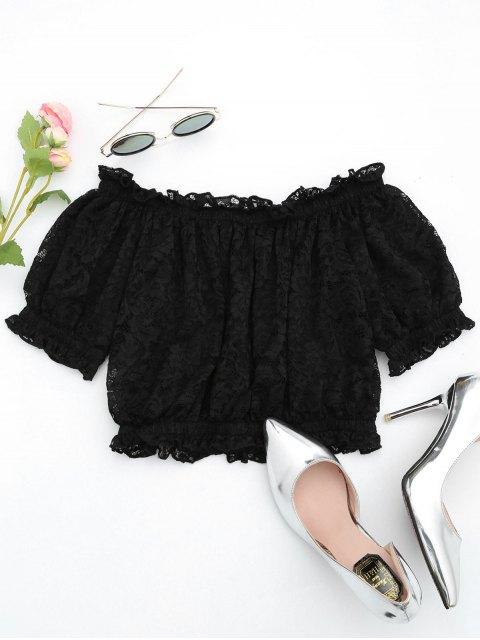 shops Off The Shoulder Ruffle Hem Lace Blouse - BLACK S Mobile