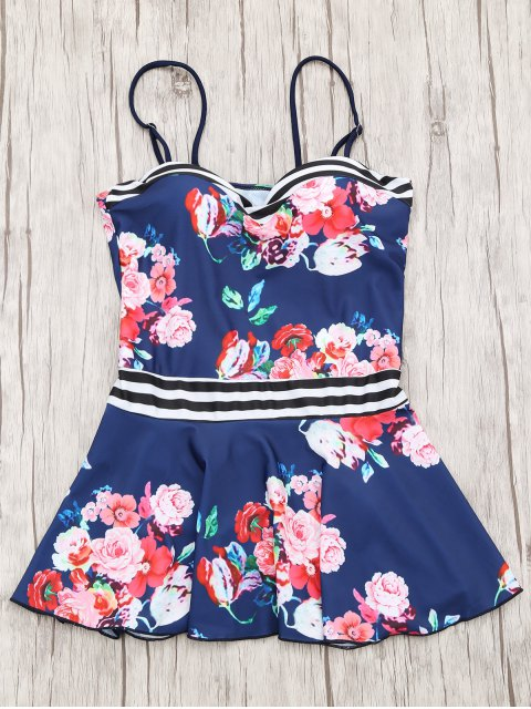 hot Skirted Moulded Tankini Top and Bikini Bottoms - NAVY BLUE M Mobile
