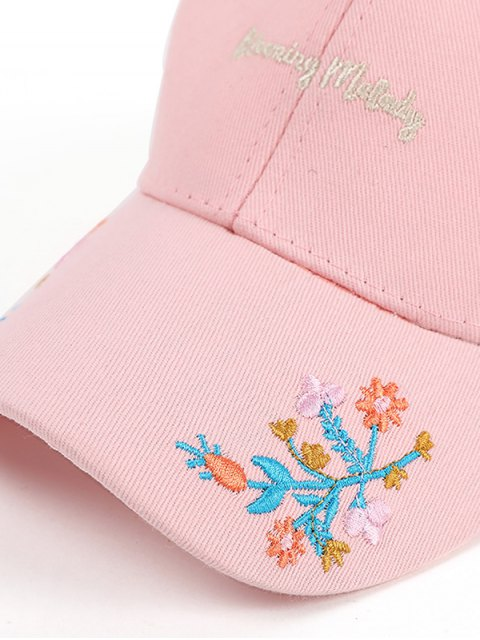 outfits Letters Flowers Embroidery Baseball Hat - PINK  Mobile