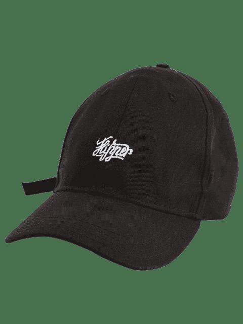 latest Letters Embellished Long Tail Baseball Hat - BLACK  Mobile