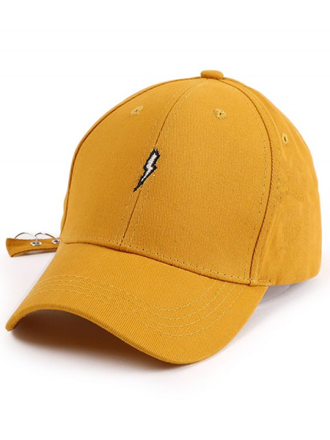 trendy Lightning Embroidery Circles Long Tail Hat - YELLOW  Mobile