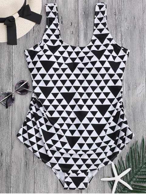 latest Geometric Pattern Scoop Plus Size Swimwear - WHITE AND BLACK 2XL Mobile