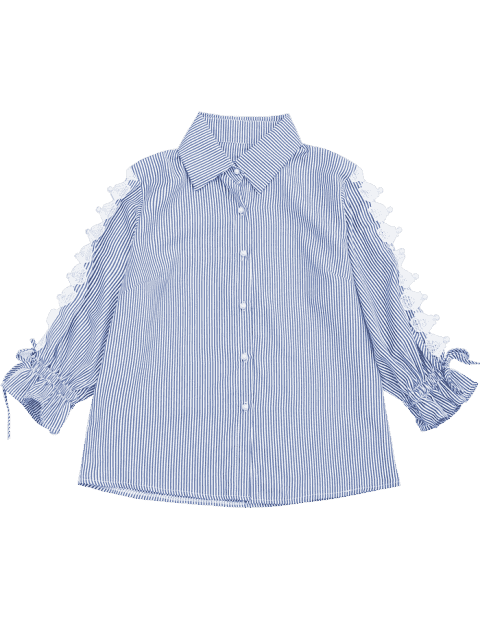 womens Hollow Out Beading Button Up Shirt - STRIPE M Mobile
