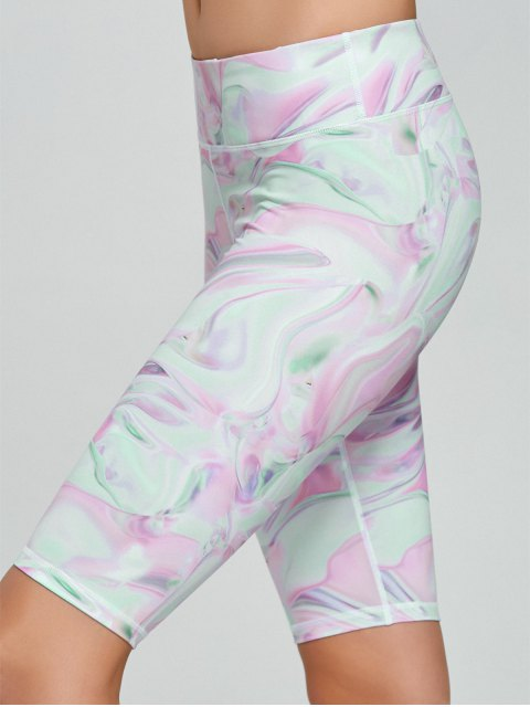 affordable Fresh Pattern Running Tight Shorts - PINK M Mobile