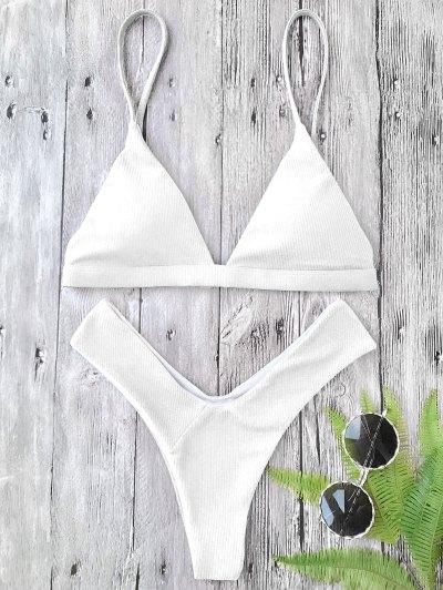 Juego De Bikini De Relleno Acolchado De Alto Corte Texturizado - Blanco S