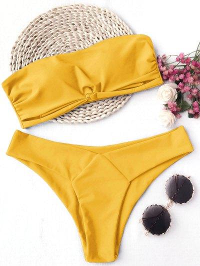 Conjunto Acolchado De Bikini Bandeau - Amarillo S