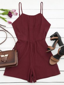 Side Pockets Cami Romper - Wine Red M