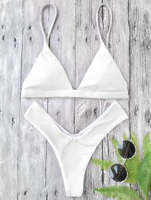 Plunge Padded Textured High Cut Bikini Set - White L