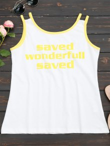 Sports Letter Cutout Tank Top - Yellow
