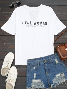 Loose Letter Cut Out T-Shirt - White S