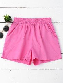Pantalones Cortos Ocasionales De Alta Cintura - Púrpura Rosácea L