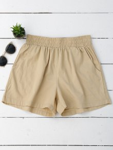 Casual High Waisted Shorts - Khaki L