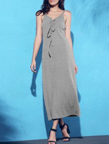 Lace Up Spaghetti Straps Solid Color Dress - Gray M