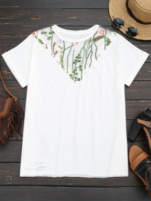 Floral Embroidered Mesh Panel T-shirt - White L